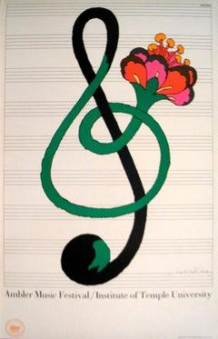 "Milton Glaser-Ambler Music Festival-36"" x 24""-Lithograph-Pop Art-Green, Red"