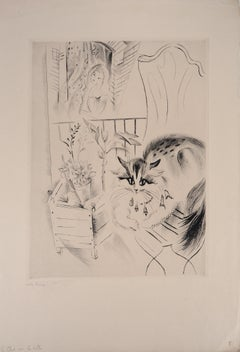 cat on the table - Original Handsigned Etching