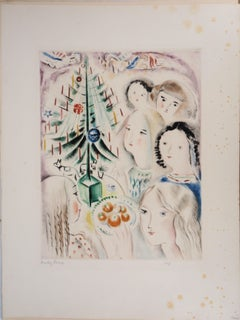 Children and Angels with the Christmas Tree - Original Handsigned Etching