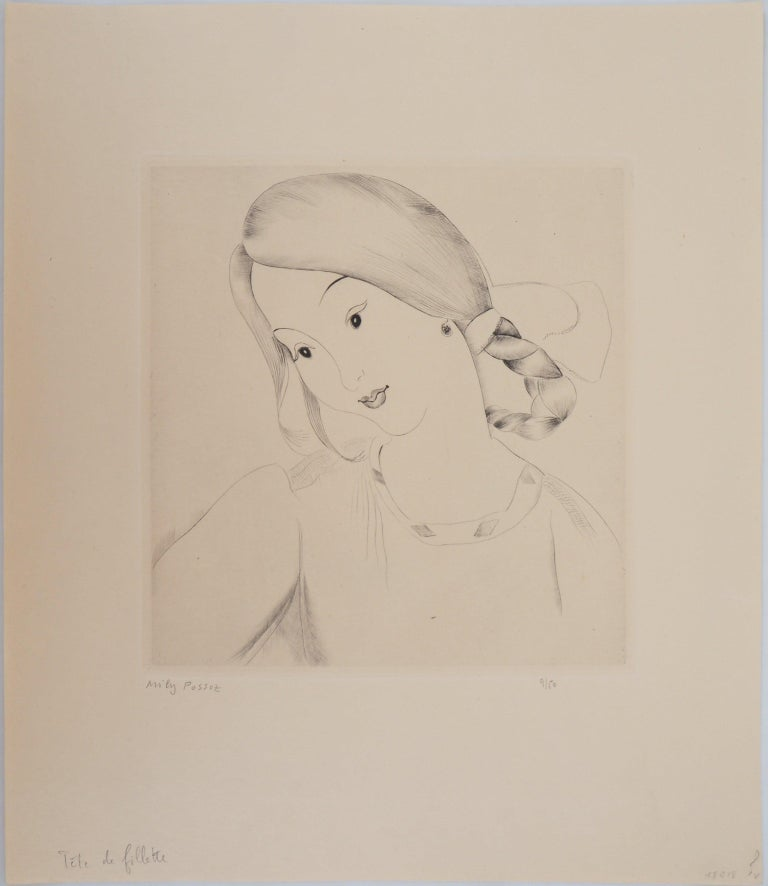 Little Girl's Head - Original Handsigned Etching - Print by Mily Possoz