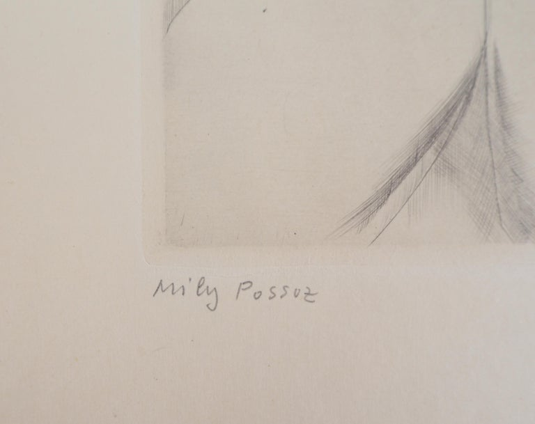 Little Girl's Head - Original Handsigned Etching - Realist Print by Mily Possoz