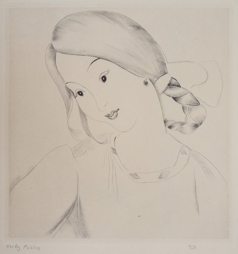 Mily Possoz Portrait Print - Little Girl's Head - Original Handsigned Etching
