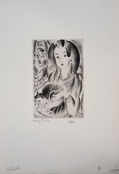 Serenity : Woman with Cat - Original Handsigned Etching