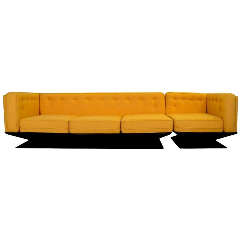 MIM Ico Parisi Knoll Yellow Wool Upholstery and Black Fiberglass Sectional Sofa For Sale