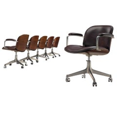 MIM Roma Set of Six Rosewood Swivel Armchairs