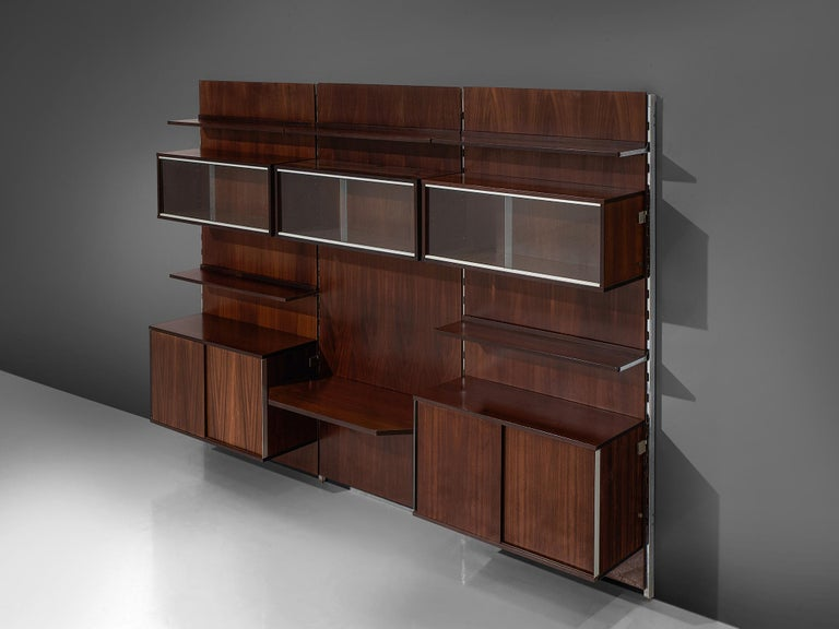 Mid-Century Modern MIM Roma Wall Unit in Rosewood For Sale
