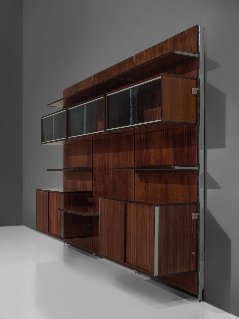Italian MIM Roma Wall Unit in Rosewood For Sale