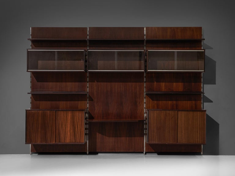 MIM Roma Wall Unit in Rosewood In Good Condition For Sale In Waalwijk, NL