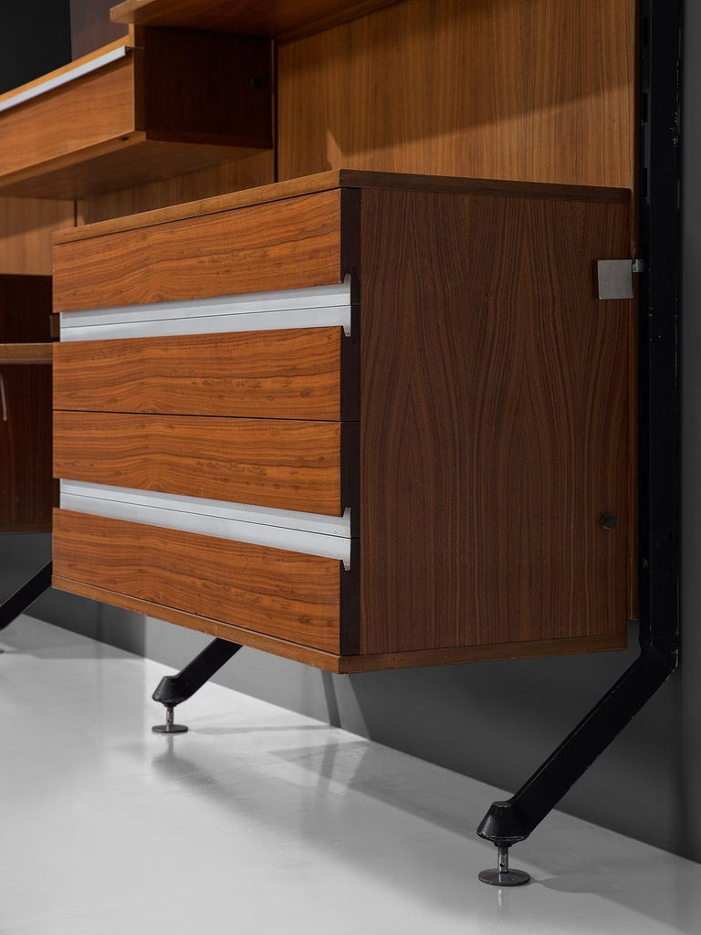 MIM Roma Wall Unit in Teak, 1960s For Sale 1