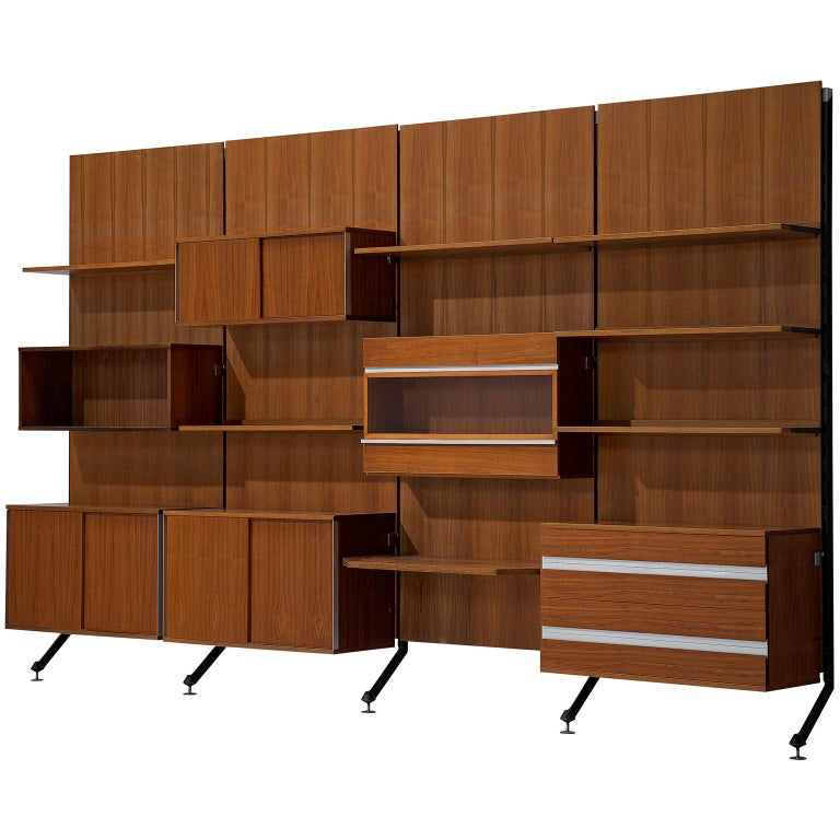 MIM Roma Wall Unit in Teak, 1960s For Sale