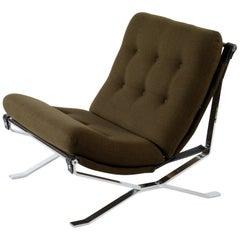 MIM Signed Mid Century Chrome Metal Italian Armchair, 1960