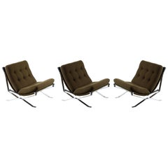 MIM Signed Three Chrome Metal Midcentury Italian Armchairs, 1960