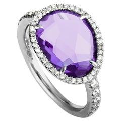 MIMÍ 18 Karat White Gold Diamond and Amethyst Ring