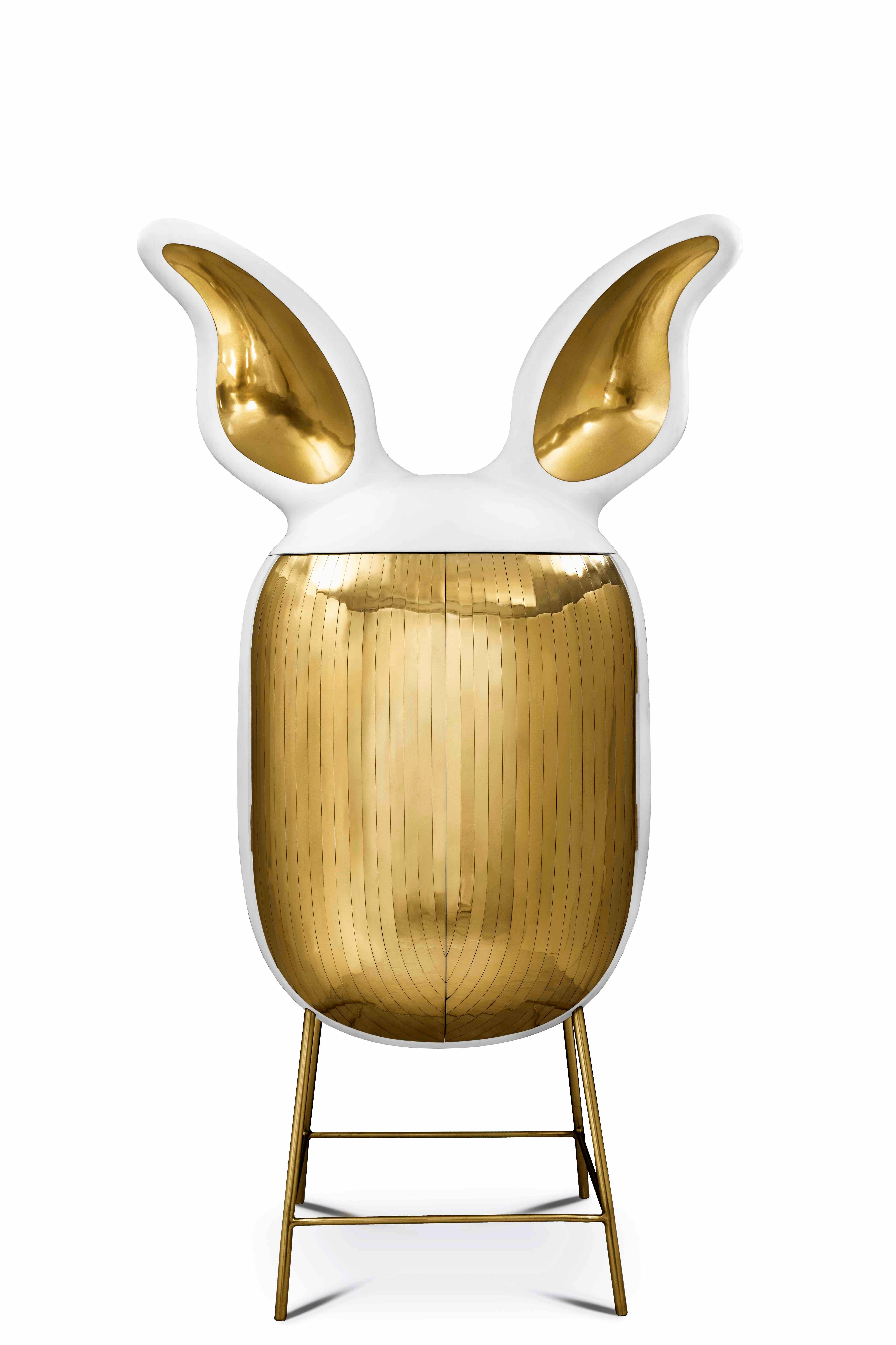 Mimi Bar Storage Cabinet with Brass Inlay by Matteo Cibic
