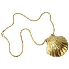 Mimi Di N Gold Tone Shell Necklace, 1972