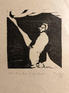 Woodcut Print, 'Aaron in the Desert' Bible Scene Signed Small Edition