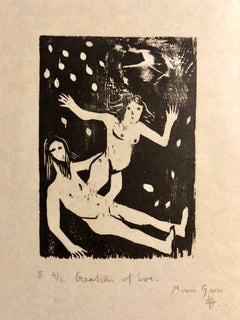 Woodcut Print, 'Creation of Eve' Bible Scene Signed Small Edition