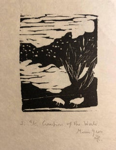 Woodcut Print, 'Creation of the World' Bible Scene Signed Small Edition