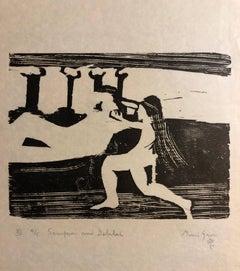 Woodcut Print, 'Samson and Delilah' Bible Scene Signed Small Edition
