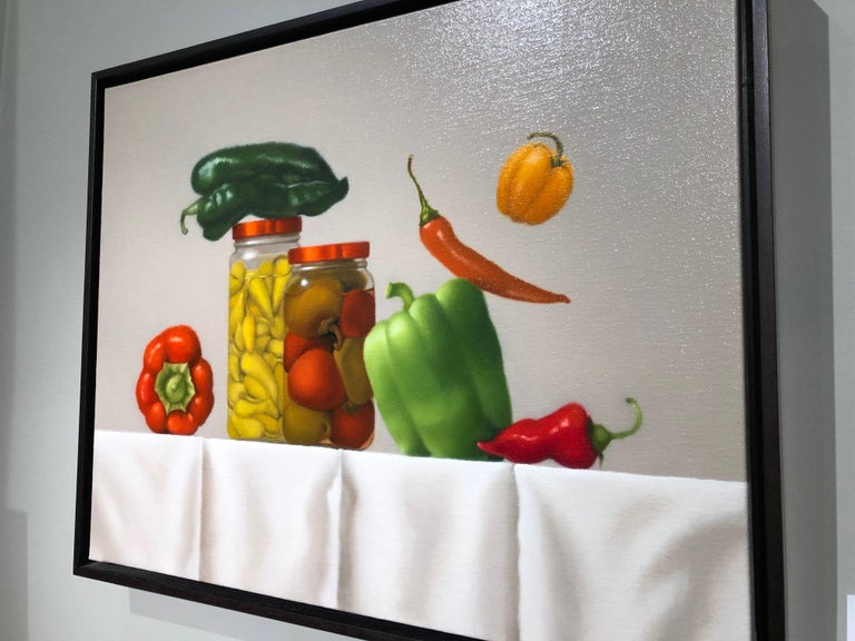 Pepper Party / oil on canvas - still life with food - Painting by Mimi Jensen