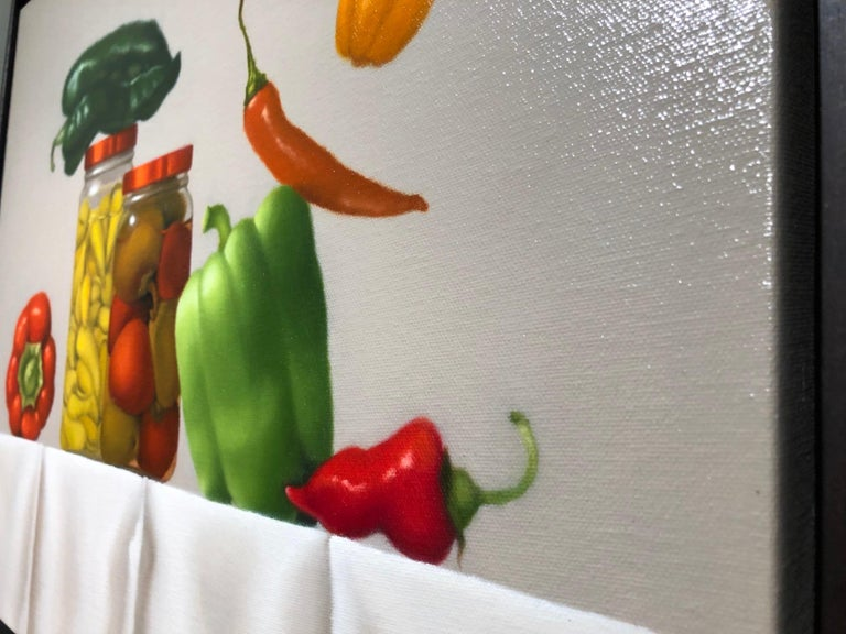 Pepper Party / oil on canvas - still life with food - American Realist Painting by Mimi Jensen