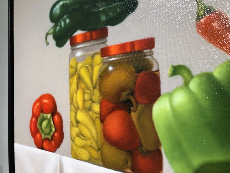 Pepper Party / oil on canvas - still life with food - Brown Interior Painting by Mimi Jensen