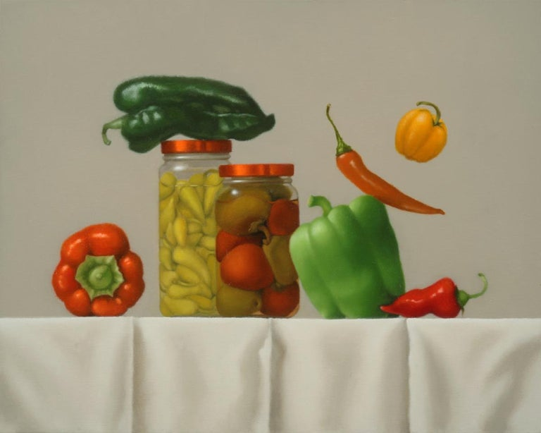 Mimi Jensen Interior Painting - Pepper Party / oil on canvas - still life with food