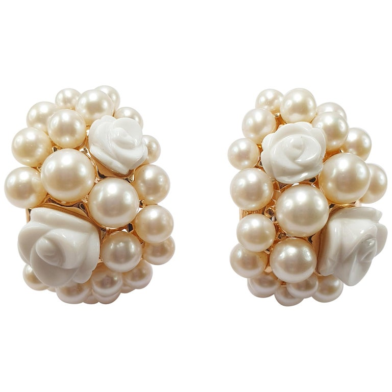 Mimi Milano 18 Karat Rose Gold Earrings with Agate Flowers and Pearls For Sale