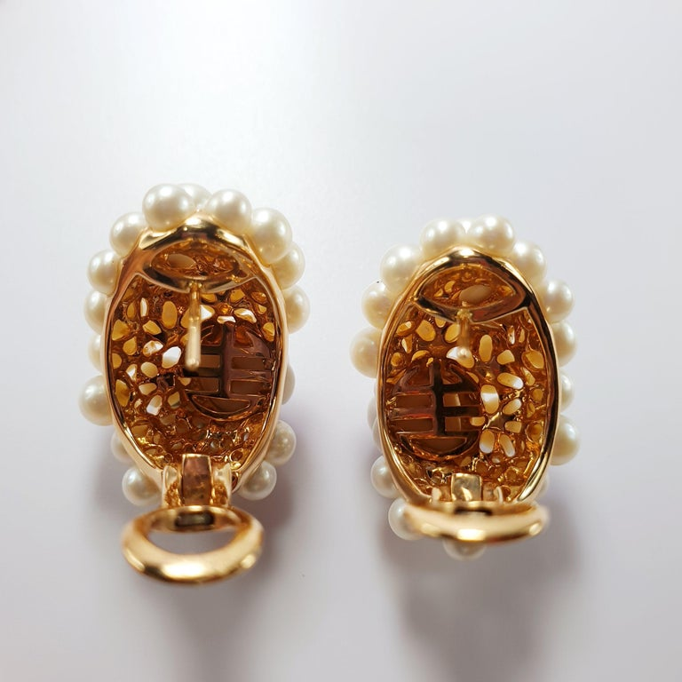 Mimi Milano 18 Karat Rose Gold Earrings with Agate Flowers and Pearls In New Condition For Sale In Bilbao, ES
