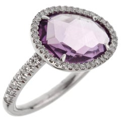 Mimi Milano Amethyst Diamond White Gold Ring