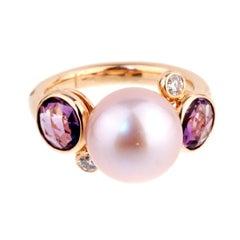 Mimi Milano Amethyst Pearl Diamond Ring