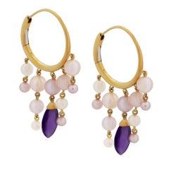 Mimi Milano Amethyst Pearl Gold Hoop Earrings