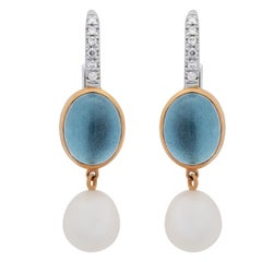 Mimi Milano Blue Topaz Pearl Diamond Gold Earrings