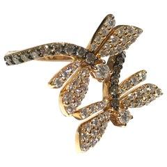 MIMI Milano Dragonfly Ring aus 18 Karat Gold mit Weißen und Champagne Diamanten