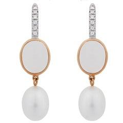 Mimi Milano Milky Quartz Pearl Diamond Gold Earrings