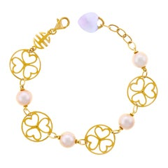 Mimi Milano Pearl and Amethyst Gold Bracelet