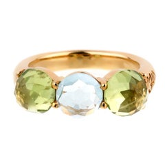 Mimi Milano Peridot Blue Topaz Gold Ring