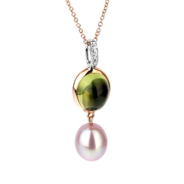 Mimi Milano Peridot Pearl Diamond Necklace For Sale
