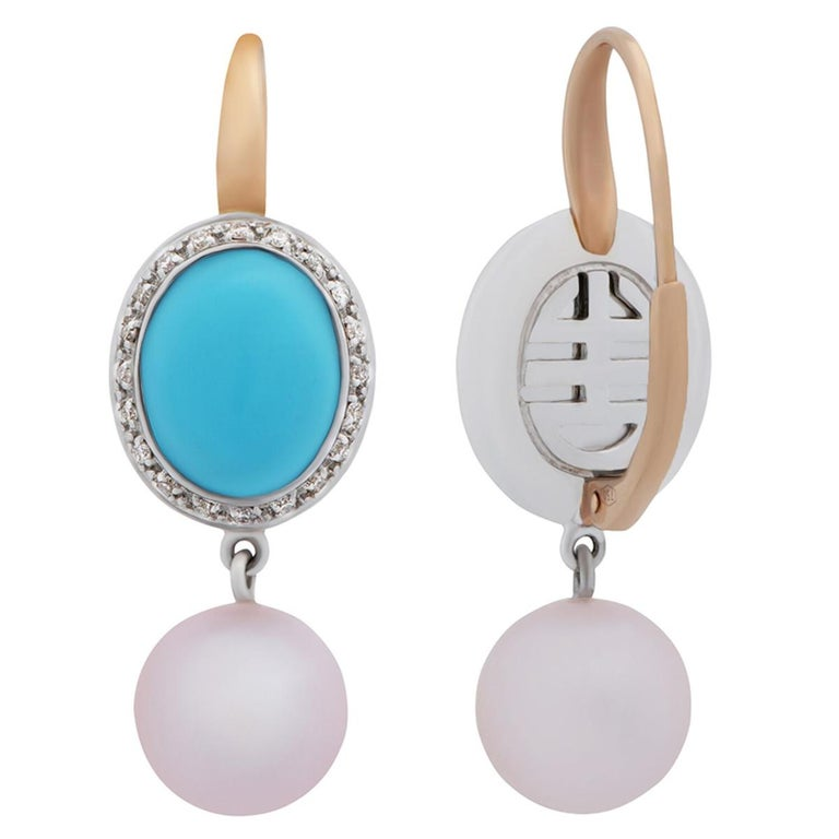Mimi Milano Turquoise Pearl Diamond Gold Earrings In New Condition For Sale In Feasterville, PA