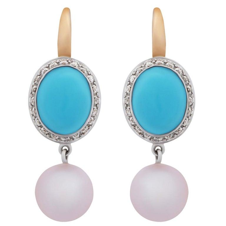 Women's or Men's Mimi Milano Turquoise Pearl Diamond Gold Earrings For Sale