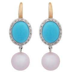Mimi Milano Turquoise Pearl Diamond Gold Earrings