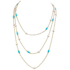 Mimi Milano Very Long Turquoise and Pearl Gold Necklace