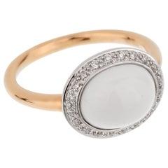Mimi Milano White Agate Diamond Rose Gold Ring