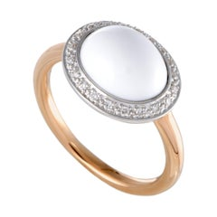 Mimí Mimi 18 Karat Rose and White Gold Diamond and White Agate Oval Ring