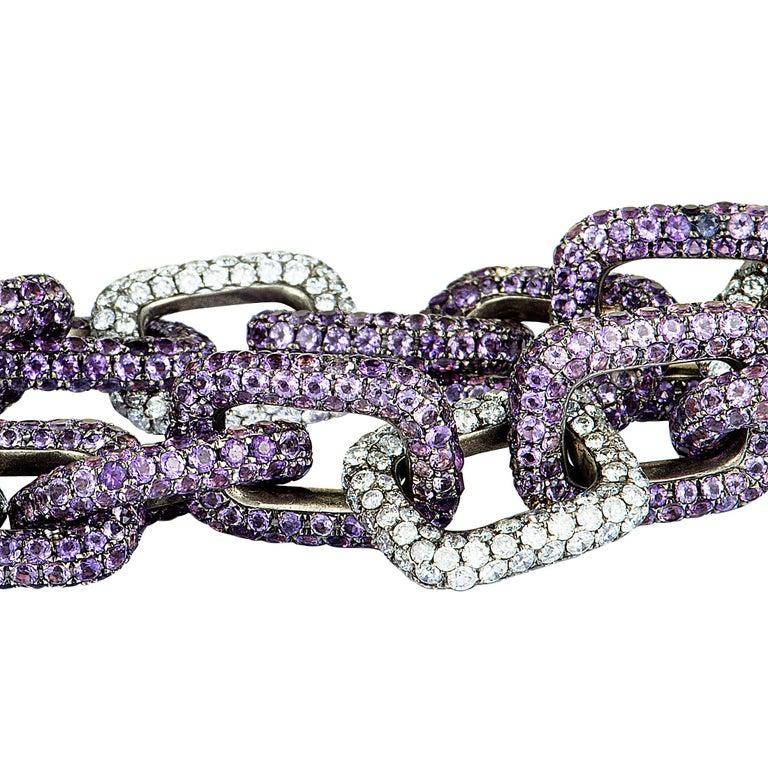 Round Cut Mimi So Diamond and Sapphire White Gold Chain Bracelet For Sale