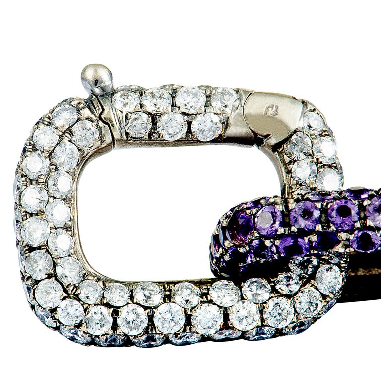 Mimi So Diamond and Sapphire White Gold Chain Bracelet In Excellent Condition For Sale In Southampton, PA