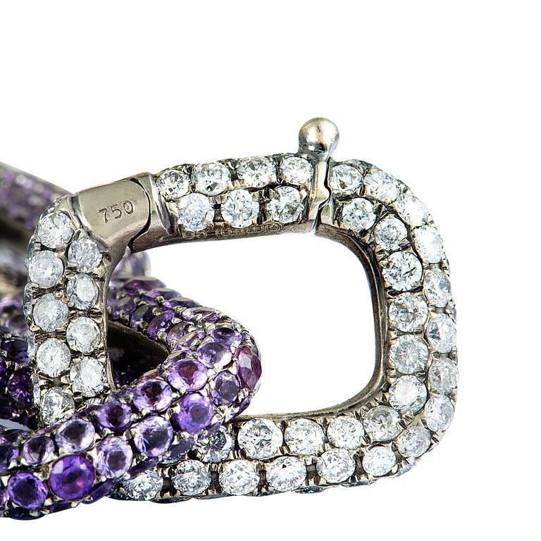 Women's Mimi So Diamond and Sapphire White Gold Chain Bracelet For Sale