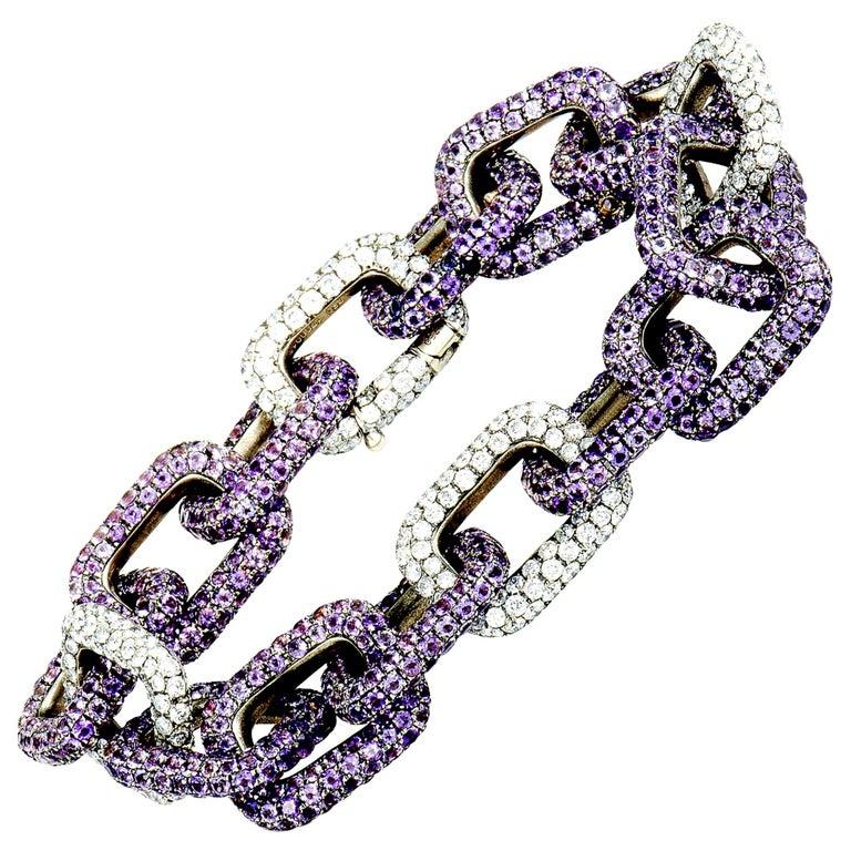 Mimi So Diamond and Sapphire White Gold Chain Bracelet For Sale