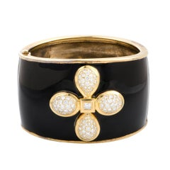 Mimi So Diamond Enameled Yellow Gold and Silver Bangle Bracelet