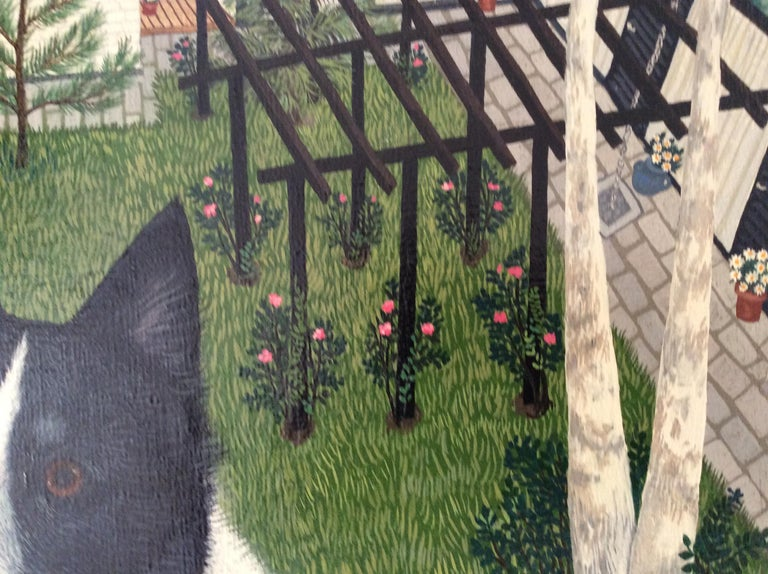 Hand-Painted Mimi Vang Olsen Portrait of a Dog in Garden For Sale